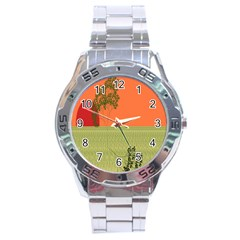 Sunset Orange Green Tree Sun Red Polka Stainless Steel Analogue Watch