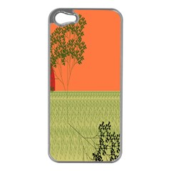 Sunset Orange Green Tree Sun Red Polka Apple Iphone 5 Case (silver) by Mariart
