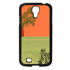 Sunset Orange Green Tree Sun Red Polka Samsung Galaxy S4 I9500/ I9505 Case (black) by Mariart