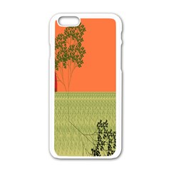 Sunset Orange Green Tree Sun Red Polka Apple Iphone 6/6s White Enamel Case by Mariart