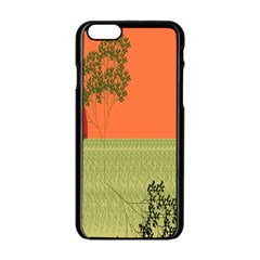Sunset Orange Green Tree Sun Red Polka Apple Iphone 6/6s Black Enamel Case by Mariart