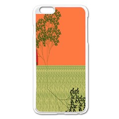 Sunset Orange Green Tree Sun Red Polka Apple Iphone 6 Plus/6s Plus Enamel White Case by Mariart