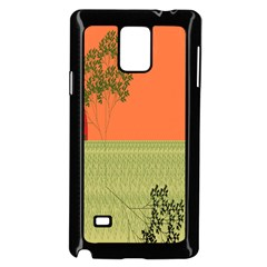 Sunset Orange Green Tree Sun Red Polka Samsung Galaxy Note 4 Case (black) by Mariart