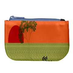 Sunset Orange Green Tree Sun Red Polka Large Coin Purse by Mariart