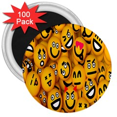 Smileys Linus Face Mask Cute Yellow 3  Magnets (100 Pack) by Mariart