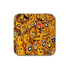 Smileys Linus Face Mask Cute Yellow Rubber Square Coaster (4 Pack)  by Mariart