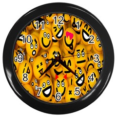 Smileys Linus Face Mask Cute Yellow Wall Clocks (black)