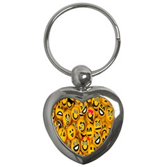Smileys Linus Face Mask Cute Yellow Key Chains (heart)  by Mariart