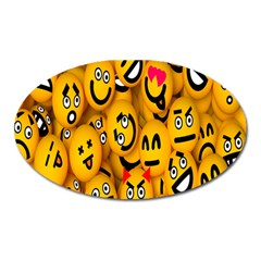 Smileys Linus Face Mask Cute Yellow Oval Magnet by Mariart