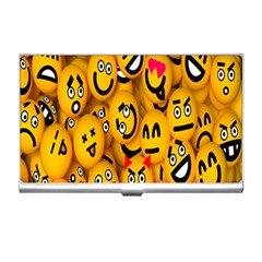 Smileys Linus Face Mask Cute Yellow Business Card Holders by Mariart