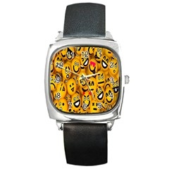 Smileys Linus Face Mask Cute Yellow Square Metal Watch by Mariart