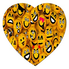 Smileys Linus Face Mask Cute Yellow Jigsaw Puzzle (heart) by Mariart