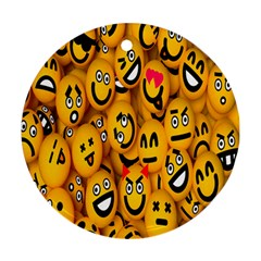 Smileys Linus Face Mask Cute Yellow Round Ornament (two Sides) by Mariart