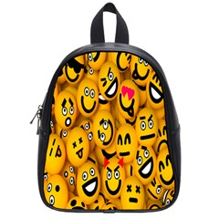 Smileys Linus Face Mask Cute Yellow School Bags (small)  by Mariart