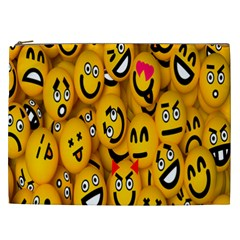 Smileys Linus Face Mask Cute Yellow Cosmetic Bag (xxl)  by Mariart