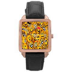 Smileys Linus Face Mask Cute Yellow Rose Gold Leather Watch  by Mariart