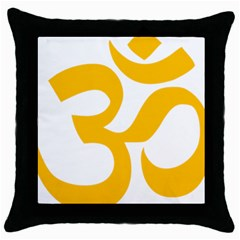 Hindu Om Symbol (gold) Throw Pillow Case (black) by abbeyz71