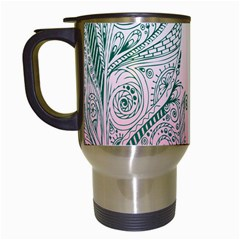 Toggle The Widget Bar Leaf Green Pink Travel Mugs (white) by Mariart