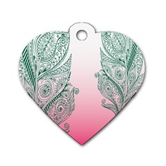 Toggle The Widget Bar Leaf Green Pink Dog Tag Heart (two Sides) by Mariart