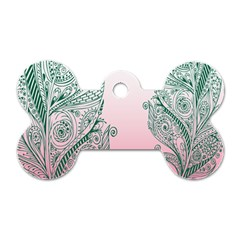 Toggle The Widget Bar Leaf Green Pink Dog Tag Bone (one Side) by Mariart