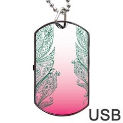 Toggle The Widget Bar Leaf Green Pink Dog Tag Usb Flash (one Side) by Mariart