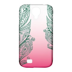 Toggle The Widget Bar Leaf Green Pink Samsung Galaxy S4 Classic Hardshell Case (pc+silicone) by Mariart