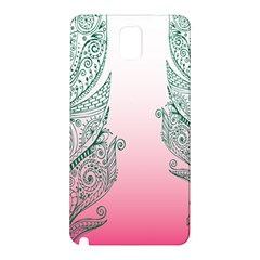 Toggle The Widget Bar Leaf Green Pink Samsung Galaxy Note 3 N9005 Hardshell Back Case by Mariart