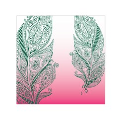 Toggle The Widget Bar Leaf Green Pink Small Satin Scarf (square)