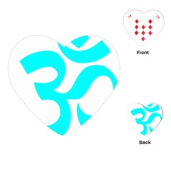 Aum Om Cyan Playing Cards (heart)  by abbeyz71
