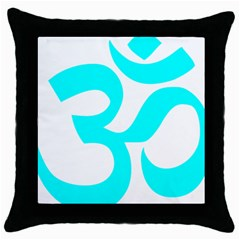 Aum Om Cyan Throw Pillow Case (black) by abbeyz71