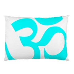 Aum Om Cyan Pillow Case (two Sides) by abbeyz71