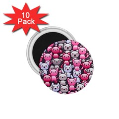 Cute Doodle Wallpaper Cute Kawaii Doodle Cats 1 75  Magnets (10 Pack)  by Nexatart