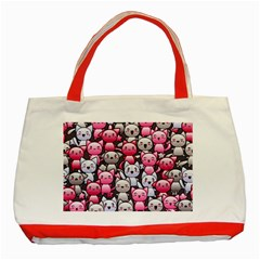 Cute Doodle Wallpaper Cute Kawaii Doodle Cats Classic Tote Bag (red) by Nexatart