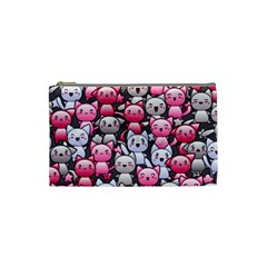 Cute Doodle Wallpaper Cute Kawaii Doodle Cats Cosmetic Bag (small)