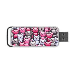 Cute Doodle Wallpaper Cute Kawaii Doodle Cats Portable Usb Flash (one Side)