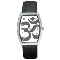 Hindu Om Symbol (dark Gray)  Barrel Style Metal Watch by abbeyz71