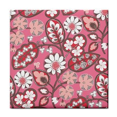Pink Flower Pattern Tile Coasters by Nexatart