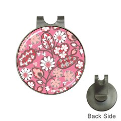 Pink Flower Pattern Hat Clips With Golf Markers by Nexatart