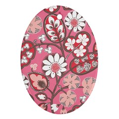 Pink Flower Pattern Oval Ornament (two Sides)
