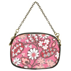 Pink Flower Pattern Chain Purses (two Sides)  by Nexatart