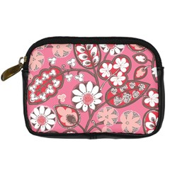 Pink Flower Pattern Digital Camera Cases by Nexatart