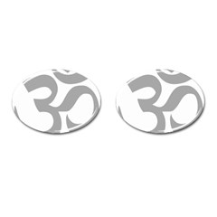 Hindu Om Symbol (light Gray) Cufflinks (oval) by abbeyz71
