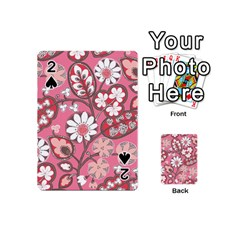 Pink Flower Pattern Playing Cards 54 (mini)  by Nexatart