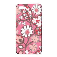 Pink Flower Pattern Apple Iphone 4/4s Seamless Case (black) by Nexatart