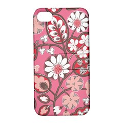 Pink Flower Pattern Apple Iphone 4/4s Hardshell Case With Stand by Nexatart