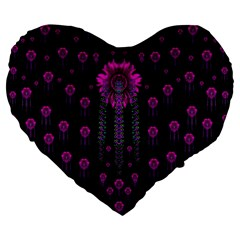 Wonderful Jungle Flowers In The Dark Large 19  Premium Heart Shape Cushions by pepitasart