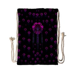 Wonderful Jungle Flowers In The Dark Drawstring Bag (small) by pepitasart