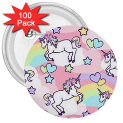 Unicorn Rainbow 3  Buttons (100 Pack)  by Nexatart