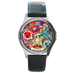 Cute Doodles Wallpaper Background Round Metal Watch by Nexatart