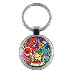 Cute Doodles Wallpaper Background Key Chains (round)  by Nexatart